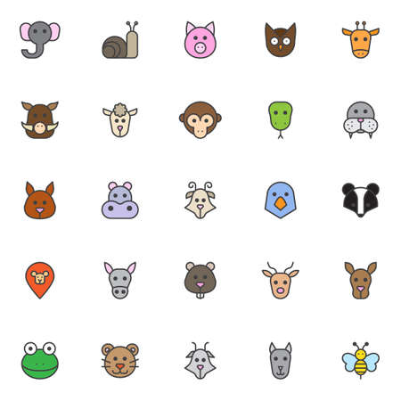 Animals heads filled outline icons set, line vector symbol collection, linear colorful pictogram pack. Ilustracja