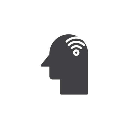 Human head with wi-fi vector icon. filled flat sign for mobile concept and web design. simple solid icon. Symbol, logo illustration. Pixel perfect vector graphics