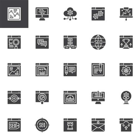 SEO and online marketing vector icons set, modern solid symbol collection, filled style pictogram pack. Signs, logo illustration. Set includes icons as Cloud computing, Analytics Browser, Sitemap Illustration