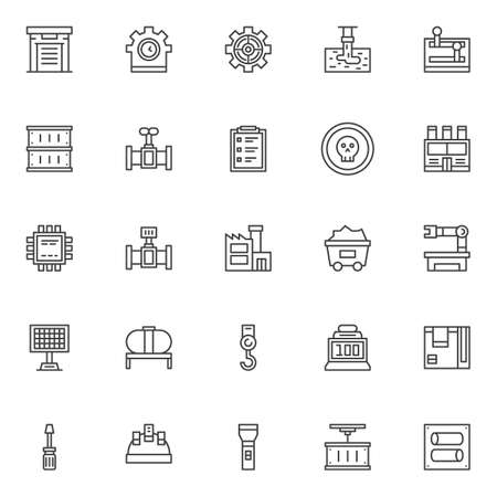 Industry factory outline icons set. linear style symbols collection, line signs pack. vector graphics.