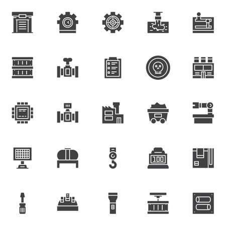 Industry factory vector icons set, modern solid symbol collection filled style pictogram pack. Signs logo illustration. Set includes icons as warehouse, clock gear, discharge of liquid chemical waste