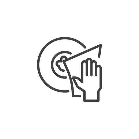 Icône de contour de lavage des plats à la main. signe de style linéaire pour le concept mobile et la conception web. Éponge, nettoyage d'une icône de vecteur de ligne simple plaque. Symbole, illustration de logo. Graphiques vectoriels pixel parfait Logo
