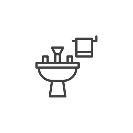 Washbasin outline icon. linear style sign for mobile concept and web design. Sink and towel simple line vector icon. Symbol, logo illustration. Pixel perfect vector graphics Vettoriali