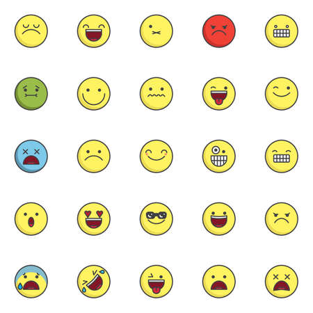 Emoji filled outline icons set, line vector symbol collection, linear colorful pictogram pack. Signs, logo illustration, Set includes icons as arrogant face emoticon, smiling face with open mouth