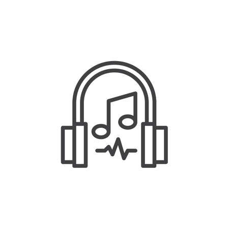 Headphones and musical note outline icon. linear style sign for mobile concept and web design. Listening music simple line vector icon. Symbol, logo illustration. Pixel perfect vector graphics