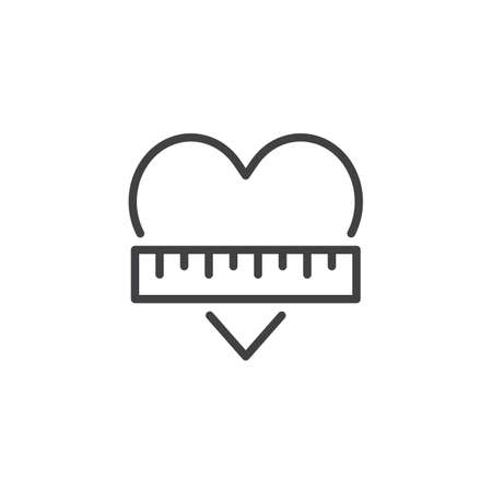 Heart and ruler outline icon on linear style sign for mobile concept and web design.