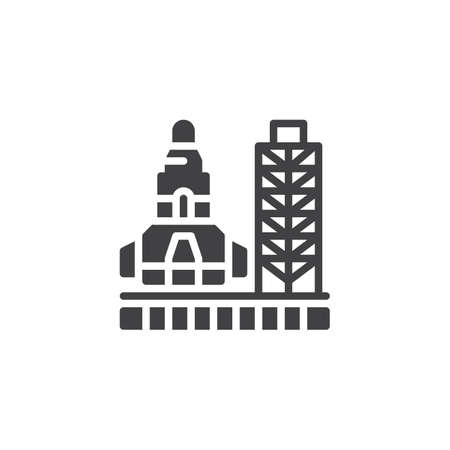Space launch system vector icon filled flat sign for mobile concept and web design. Spacecraft launch pad simple solid icon symbol, illustration. Pixel perfect vector graphics.