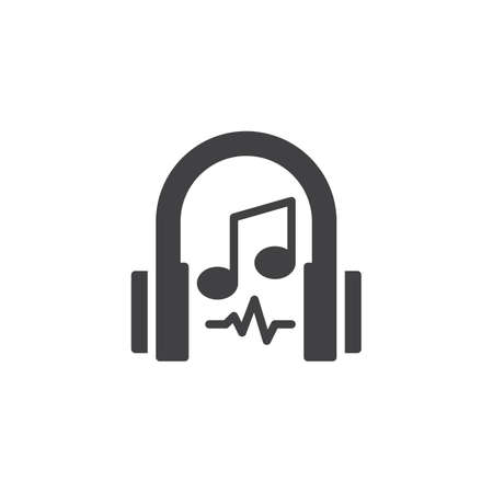 Headphones and musical note vector icon. Filled flat sign for mobile concept and web design. Listening music simple solid icon. Symbol, logo illustration. Pixel perfect vector graphics Illustration
