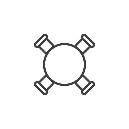 Circle table and chairs top view outline icon.