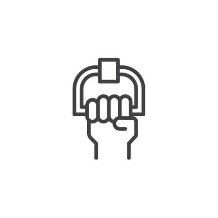 Bus handrails outline icon. linear style sign for mobile concept and web design. Train holders simple line vector icon. Symbol, logo illustration. Pixel perfect vector graphics 일러스트