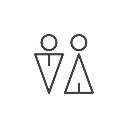 Toilet outline icon. linear style sign for mobile concept and web design. Male and Female WC simple line vector icon. Symbol, logo illustration. Pixel perfect vector graphics Illustration
