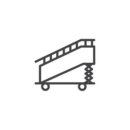Aircraft stairs outline icon. linear style sign for mobile concept and web design. Boarding ramp simple line vector icon. Symbol, logo illustration. Pixel perfect vector graphics