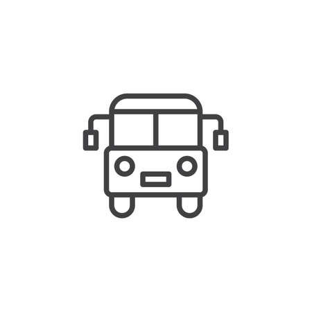 Bus outline icon. linear style sign for mobile concept and web design. Public transport line vector icon. Symbol, logo illustration. Pixel perfect vector graphics