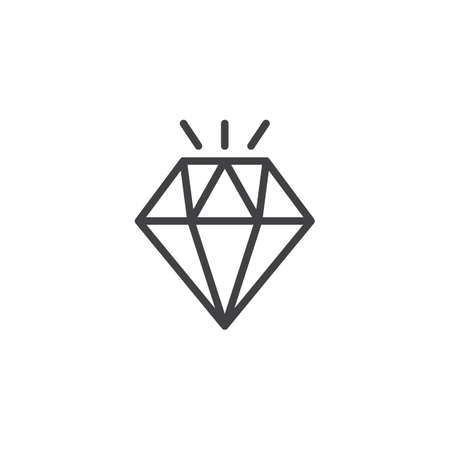Shining diamond outline icon. linear style sign for mobile concept and web design. Gemstone simple line vector icon. Symbol, logo illustration. Pixel perfect vector graphics
