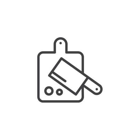 Cutting board and kitchen hatchet outline icon. linear style sign for mobile concept and web design.