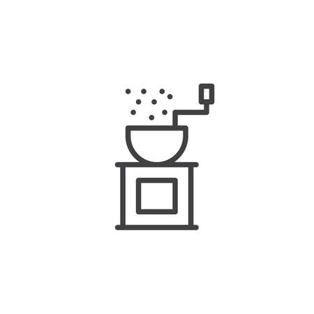 Pepper grinder outline icon. linear style sign for mobile concept and web design. Coffee mill line vector icon. Symbol, logo illustration. Pixel perfect vector graphics