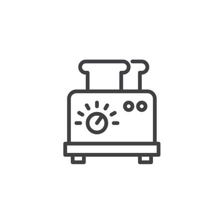 Toaster with two slices of bread outline icon. linear style sign for mobile concept and web design. Toasts  and toaster simple line vector icon. Symbol logo illustration. Pixel perfect vector graphics Vettoriali