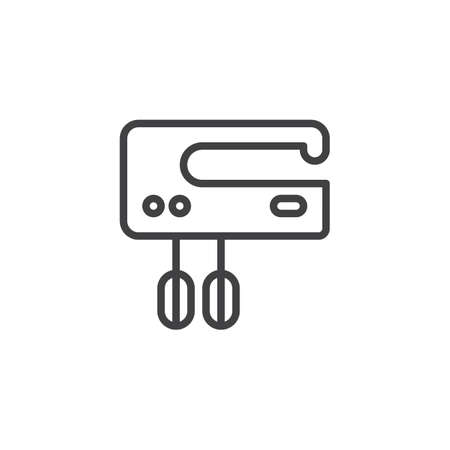 Electric food mixer outline icon. linear style sign for mobile concept and web design. Kitchen hand mixer simple line vector icon. Symbol, logo illustration. Pixel perfect vector graphics