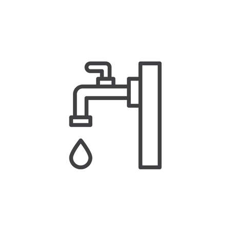 Faucet outline icon. linear style sign for mobile concept and web design. Water tap with drop simple line vector icon. Çizim