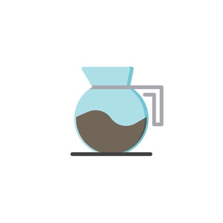 Coffee maker flat icon, vector sign, colorful pictogram isolated on white. Glass coffee kettle symbol, logo illustration. Flat style design 矢量图像