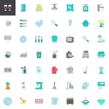 Homeware elements collection, flat icons set, Colorful symbols pack contains - refrigerator, vacuum cleaner, washing machine, microwave oven, food processor. Vector illustration. Flat style design Illustration