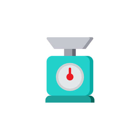 Kitchen scales flat icon, vector sign, colorful pictogram isolated on white. Ilustração