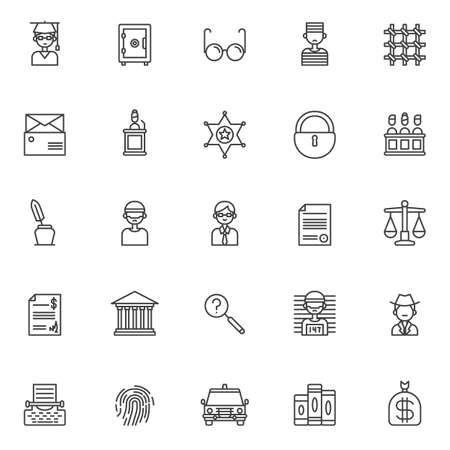 Justice outline icons set. linear style symbols collection, line signs pack. vector graphics. Set includes icons as judge, safebox, glasses , prisoner, prison bars, subpoena, witness, sheriffs badge
