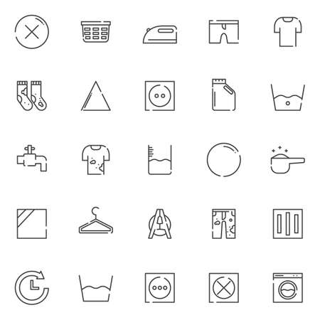 Laundry outline icons set. linear style symbols collection, line signs pack. vector graphics. Set includes icons as no dry clean, laundry basket, iron, clean shorts, dirty socks, bleach, detergent Vektorové ilustrace