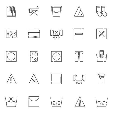 Wäscherei Elemente Gliederung Icons Set. lineare Stilsymbole Sammlung, Linie Zeichen Pack. Vektorgrafiken. Das Set enthält Symbole wie Handschuhe, Bügelbrett, Eimer, Bleichmittel, Socken, schmutzige Shorts und Waschbürste