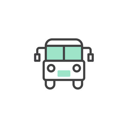 Bus icon vector, linear flat sign, bicolor pictogram, green and gray colors. Public transport symbol, logo illustration