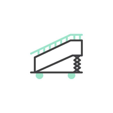 Aircraft stairs icon vector, linear flat sign, bicolor pictogram, green and gray colors. Boarding ramp symbol, logo illustration