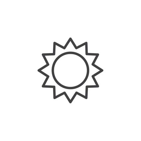 Sun outline icon. linear style sign for mobile concept and web design. Sun with sunbeams simple line vector icon. Symbol, logo illustration. Pixel perfect vector graphics Illustration