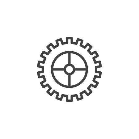 Cogwheel outline icon. linear style sign for mobile concept and web design. Gear simple line vector icon. Setting symbol, logo illustration. Pixel perfect vector graphics Vectores
