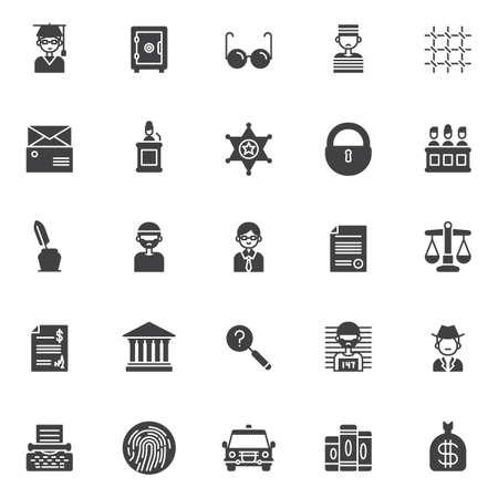 Justice vector icons set, modern solid symbol collection, filled style pictogram pack. Signs logo illustration. Set includes icons as judge, safebox, glasses , prisoner, prison bars, subpoena, witness
