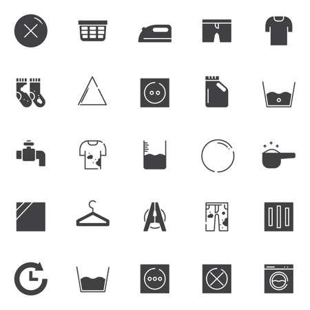 Laundry vector icons set, modern solid symbol collection, filled style pictogram pack. Çizim