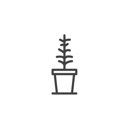 Dry plant in a pot outline icon. linear style sign for mobile concept and web design. Withered plant simple line vector icon. Symbol, logo illustration. Pixel perfect vector graphics