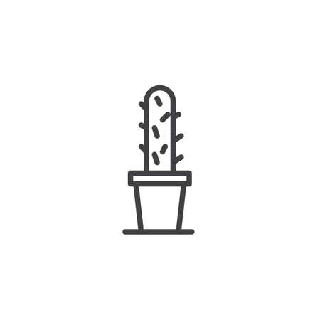Cactus in a pot outline icon. linear style sign for mobile concept and web design. Houseplant simple line vector icon. Symbol, logo illustration. Pixel perfect vector graphics Çizim