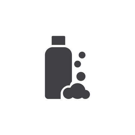 Shampoo bottle and foam vector icon. filled flat sign for mobile concept and web design. Hair conditioner simple solid icon. Symbol, logo illustration. Pixel perfect vector graphics 일러스트