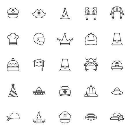 Headdress outline icons set. linear style symbols collection, line signs pack. vector graphics. Set includes icons as marine hat, pirate , wizard, pharaoh, chef hat, motorcycle helmet, baseball cap