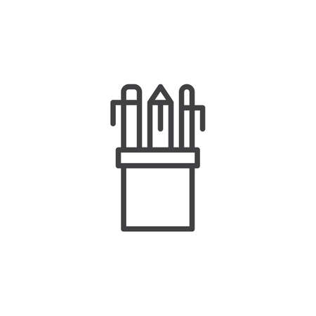 Pencil case outline icon linear style sign for mobile concept and web design. Drawing Tools simple line vector icon pixel perfect vector graphics.