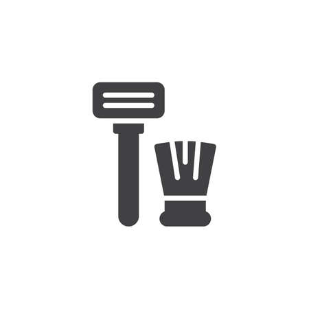 Razor and shaving brush vector icon. filled flat sign for mobile concept and web design. Shaving equipment simple solid icon. Symbol, logo illustration. Pixel perfect vector graphics