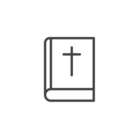 Bible book with cross outline icon. linear style sign for mobile concept and web design. Holy book simple line vector icon. Symbol, logo illustration. Pixel perfect vector graphics