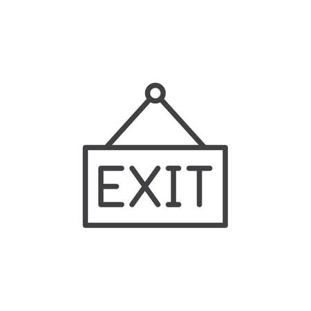 Exit hanging sign outline icon. linear style sign for mobile concept and web design. simple line vector icon. Symbol, logo illustration. Pixel perfect vector graphics Stock Illustratie