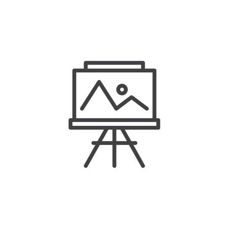 Easel with painting outline icon. linear style sign for mobile concept and web design. Landscape picture simple line vector icon. Symbol, logo illustration. Pixel perfect vector graphics 矢量图像