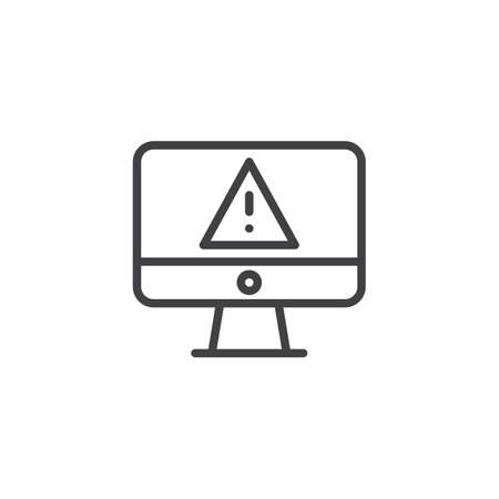 Computer screen with warning alert virus outline icon. linear style sign for mobile concept and web design. Monitor warning error cyber vulnerability simple line vector icon. Symbol, logo illustration 向量圖像