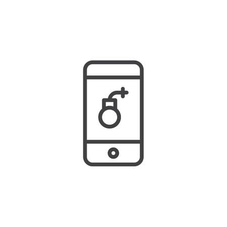 Smartphone screen with bomb virus outline icon. linear style sign for mobile concept and web design. Hacked mobile phone simple line vector icon. Symbol, logo illustration. Pixel perfect vector Stock Photo