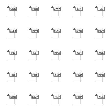 File formats outline icons set. linear style symbols collection, line signs pack. vector graphics. Set includes icons as css format document, png , java, bin , xlsx , mp4 , flac, svg , mkv , txt mp3