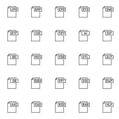 Computer file formats outline icons set. linear style symbols collection, line signs pack. vector graphics. Set includes icons as jpg format document, bmp , eps , sys , dwg , rtf , exe , tiff , gif