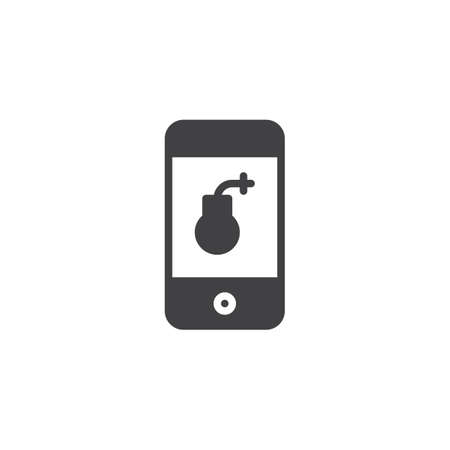 Smartphone screen with bomb virus vector icon. filled flat sign for mobile concept and web design. Hacked mobile phone simple solid icon. Symbol, logo illustration. Pixel perfect vector graphics