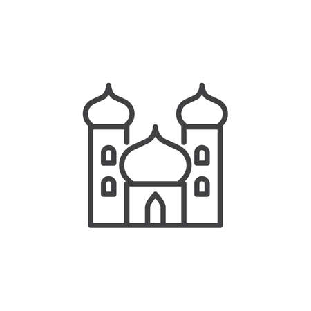 Arabian palace outline icon. linear style sign for mobile concept and web design. Castle simple line vector icon. Mosque symbol, logo illustration. Pixel perfect vector graphics